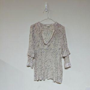 Club Monaco sheer silk boho blouse size 0